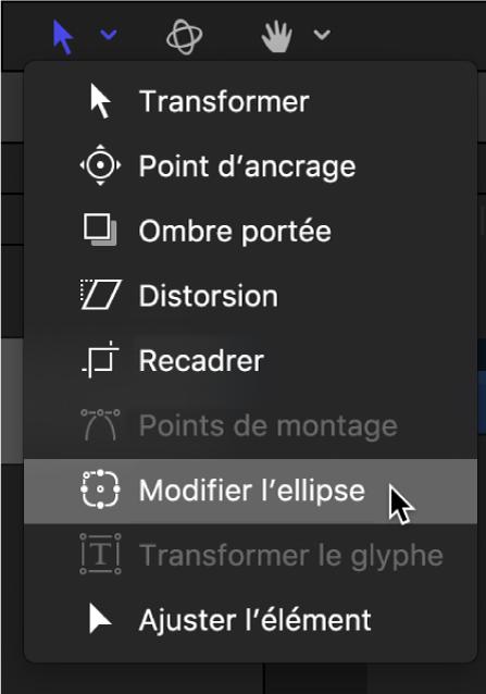 Sélection de l'outil Modifier l'ellipse dans les outils de transformation de la barre d'outils du canevas