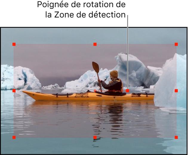 Canevas affichant les limites et les poignées de la zone de détection