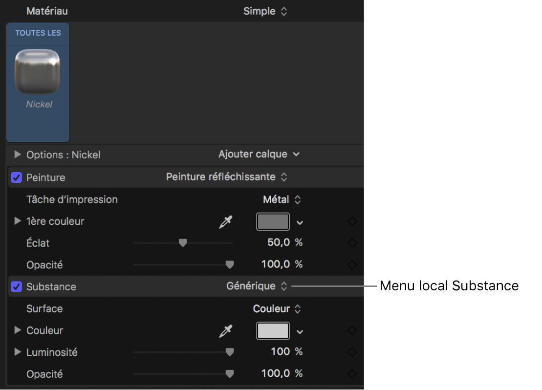 Sélection de Métal dans le menu local Type des commandes de substance Générique (fenêtre Apparence de l'inspecteur de texte)