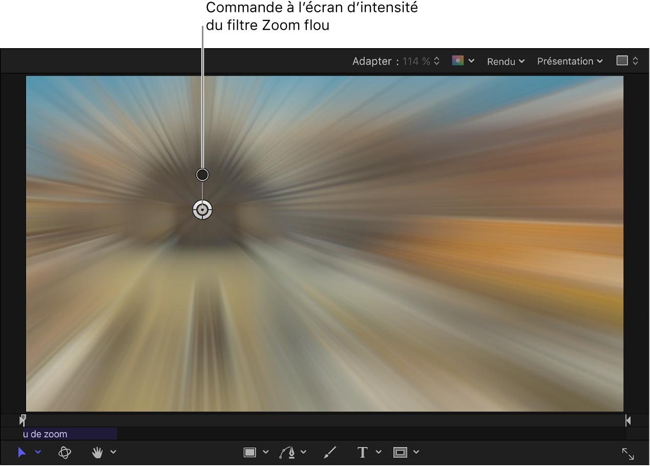 Commande à l'écran d'intensité du filtre Zoom flou