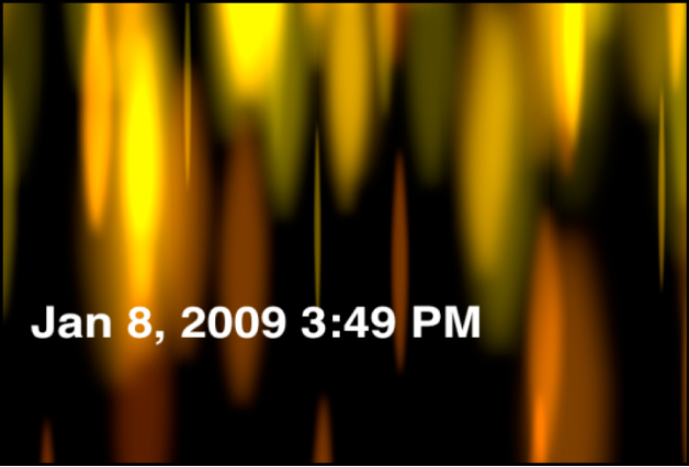 Canevas affichant le générateur Heure Date qui indique la date et l'heure en heures et minutes