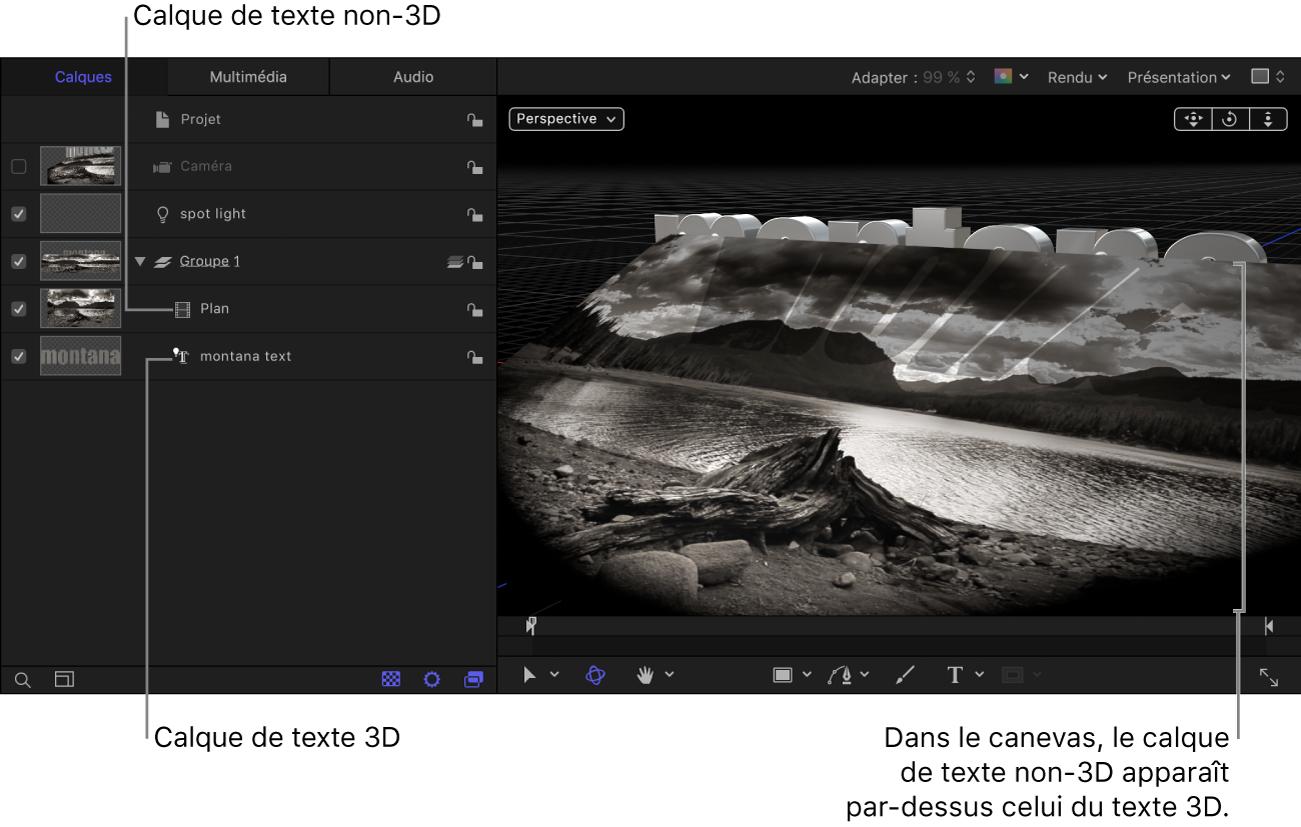 Calque de texte3D sous le calque de texte non-3D dans la liste Calques; ce dernier apparaît devant le calque de texte3D dans le canevas.