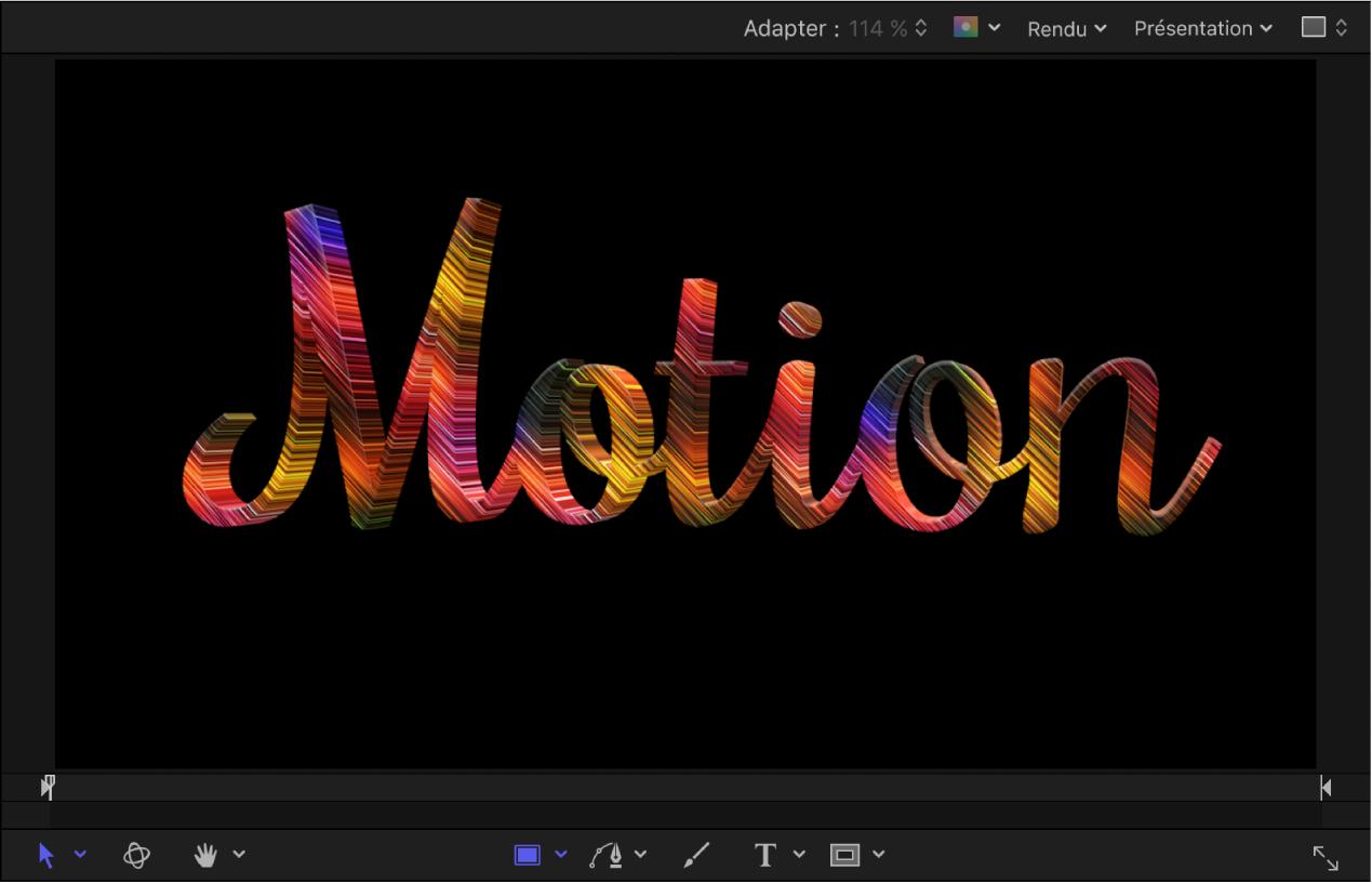 Exemple de texte3D sur lequel est appliqué un calque de matériau Animation dans le canevas