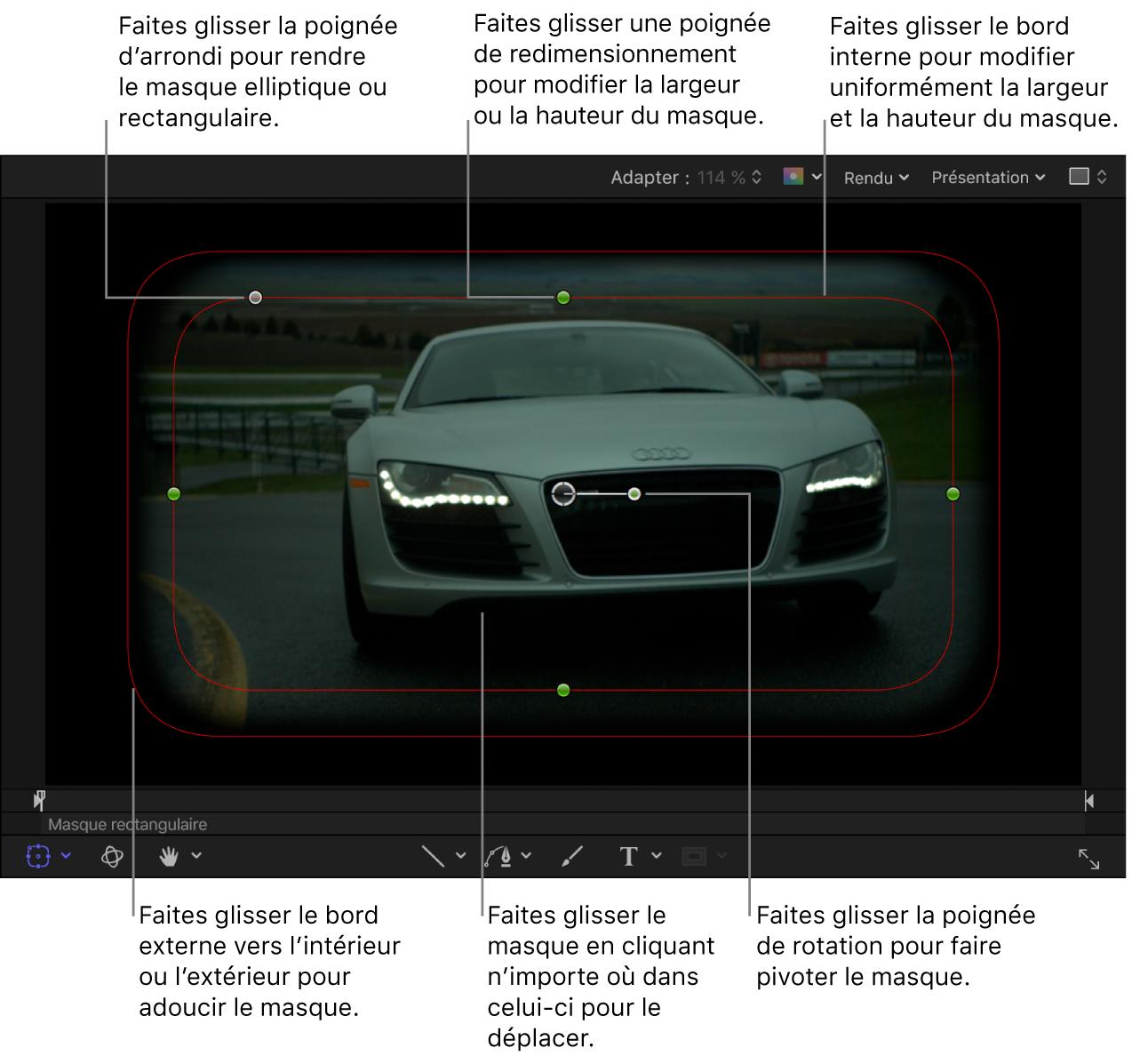 Commandes à l'écran permettant de régler la taille, l'adoucissement des bords, la rondeur et la rotation d'un masque simple