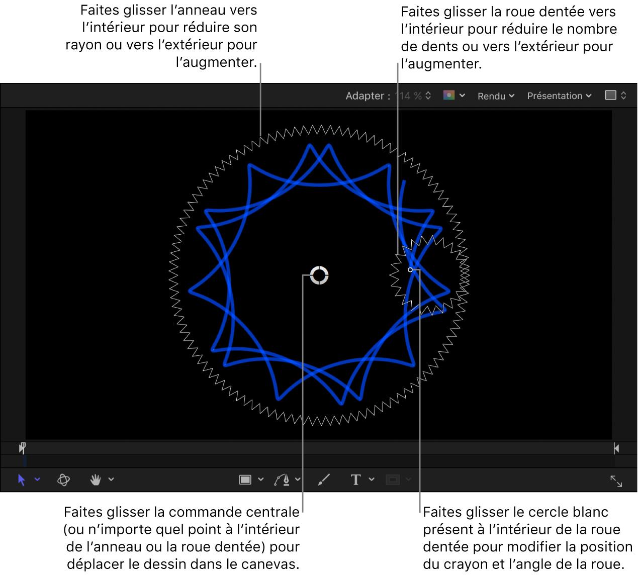 Générateur affichant les commandes à l'écran Dessin en spirale