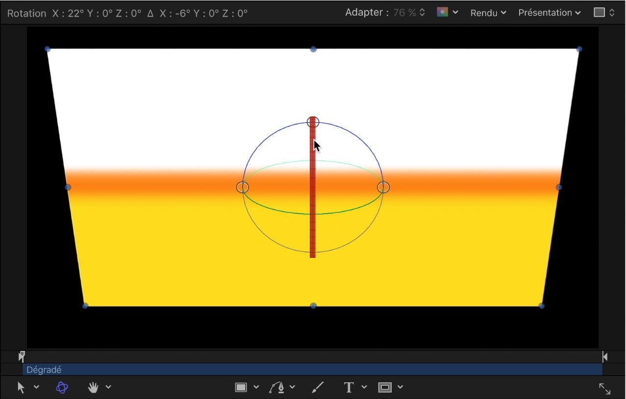 Canevas affichant un objet en rotation autour de l'axeX
