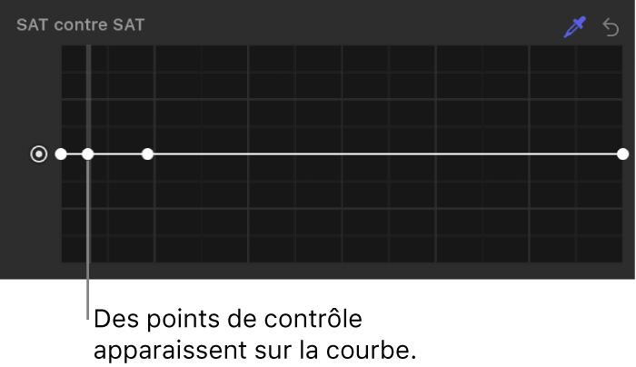 Inspecteur de filtres affichant des points de contrôle sur la courbe Saturation contre saturation
