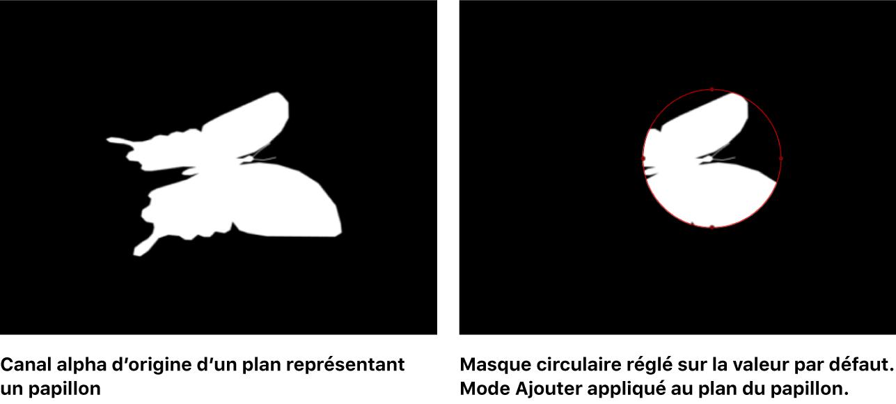 Canevas affichant un masque ajouté à un canal alpha