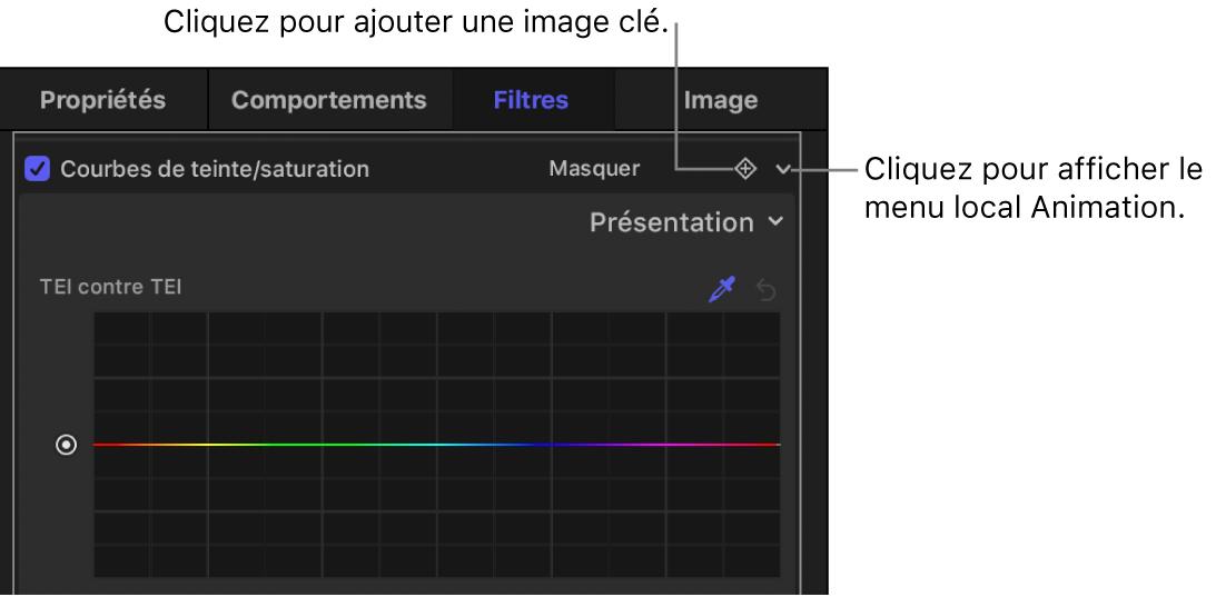 Inspecteur de filtres affichant le bouton «Ajouter une image clé» et le bouton du menu local Animation