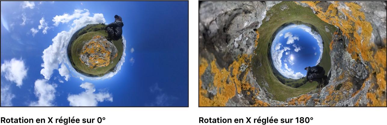 Comparaison sur le canevas de l'effet du paramètre Rotation enX défini sur0 et du même paramètre défini sur175