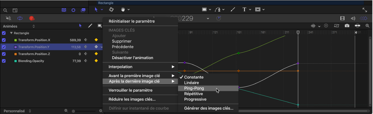 Éditeur d'images clés affichant le sous-menu «Avant la première image clé» du menu Animation