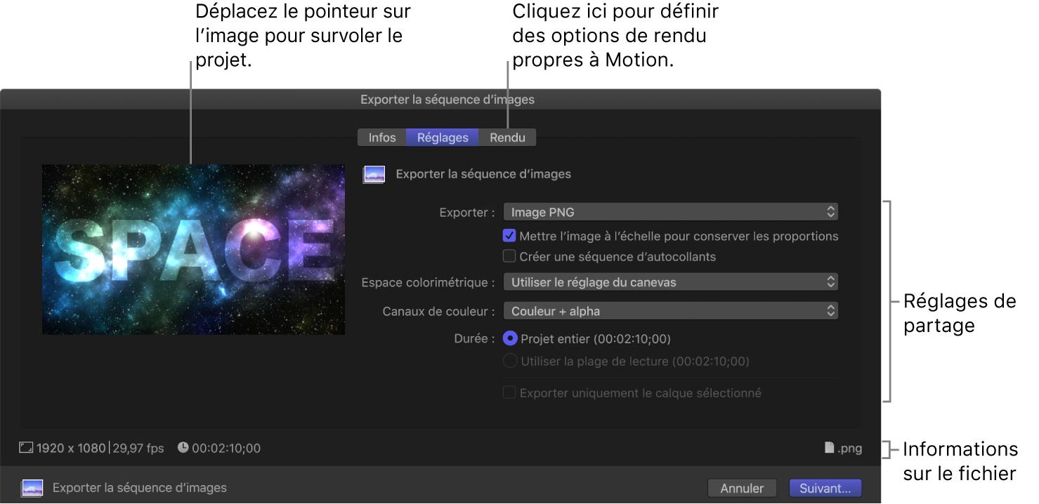 Sous-fenêtre Réglages de la fenêtre Exporter la séquence d'images
