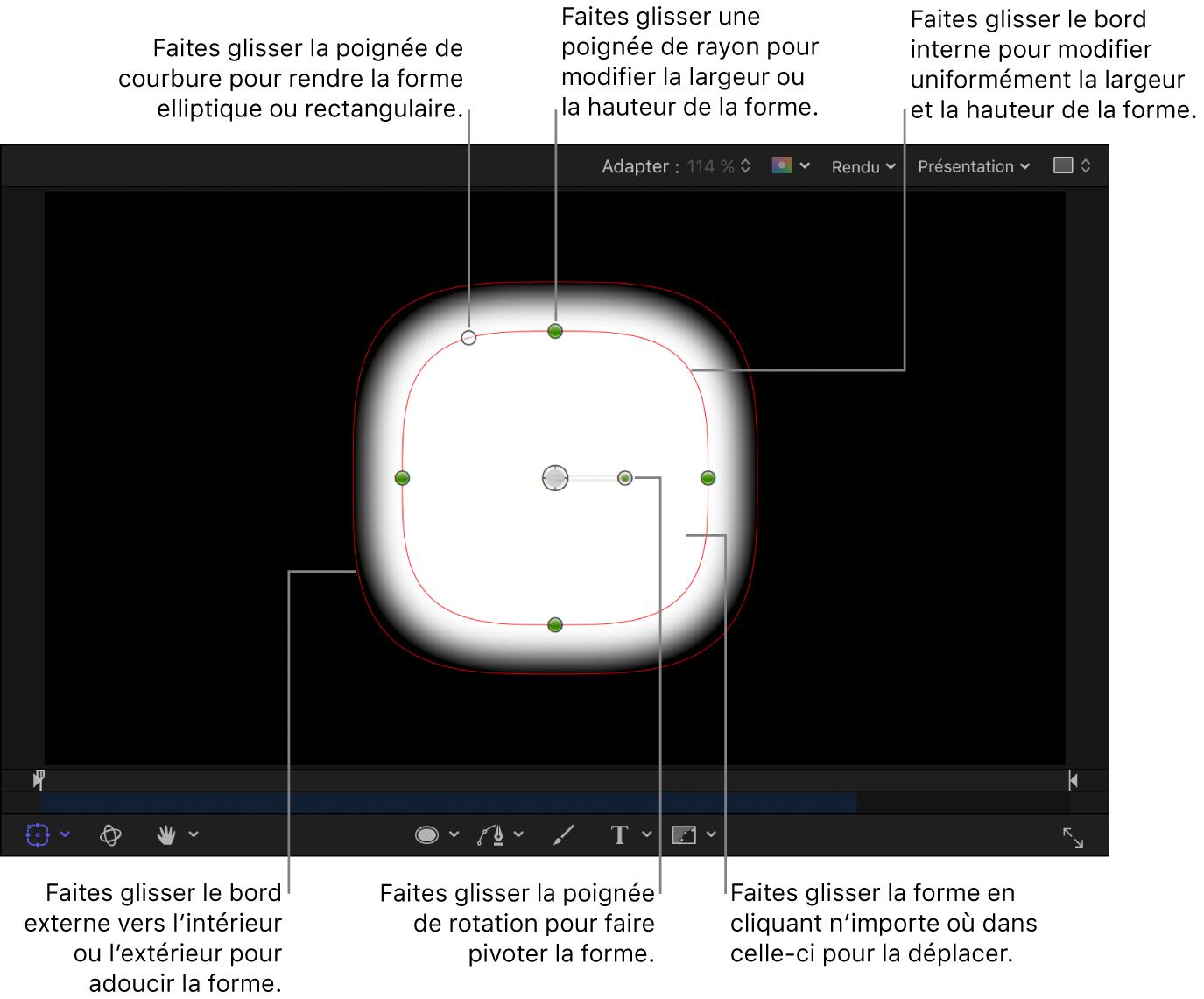 Commandes à l'écran permettant de régler la taille, l'adoucissement des bords, la courbure et la rotation d'une forme simple