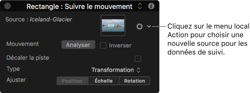 Palette montrant les paramètres du comportement Suivre le mouvement avec le menu local Action actif
