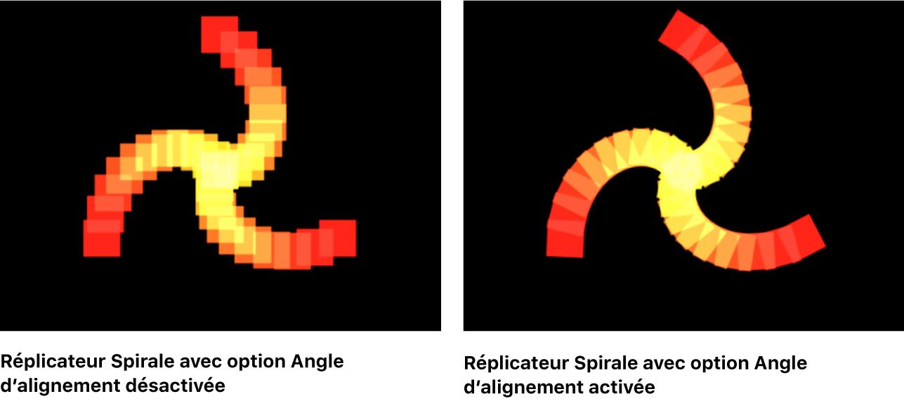 Canevas comparant deux réplicateurs Spirale, l'un avec l'option Angle d'alignement désactivée, l'autre avec cette même option activée.