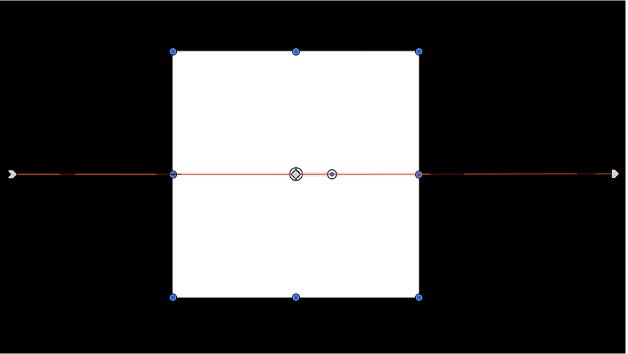 Canevas affichant un objet avec une trajectoire d'animation