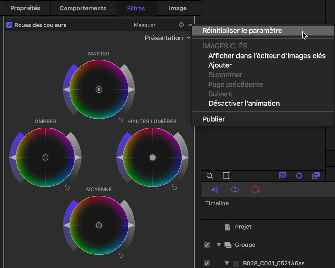 Commandes des roues des couleurs dans l'inspecteur de filtres affichant le menu local Animation