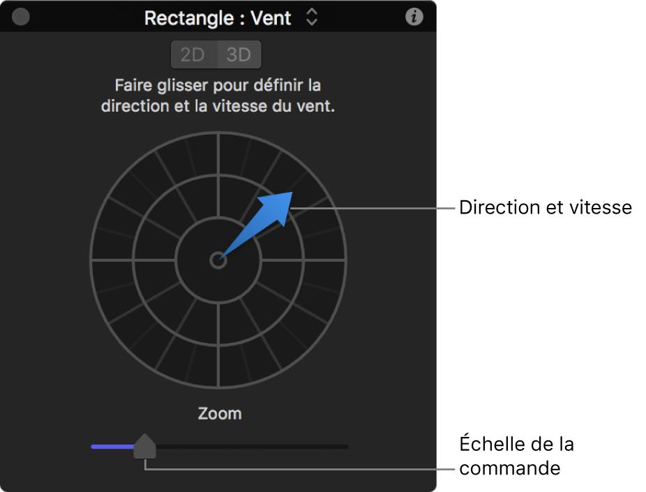 Palette avec commandes spéciales pour le comportement Vent en mode2D