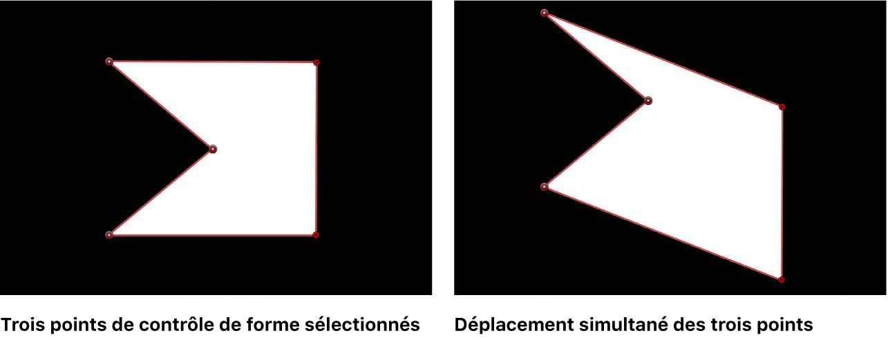 Canevas affichant plusieurs points de contrôle sélectionnés et déplacés ensemble