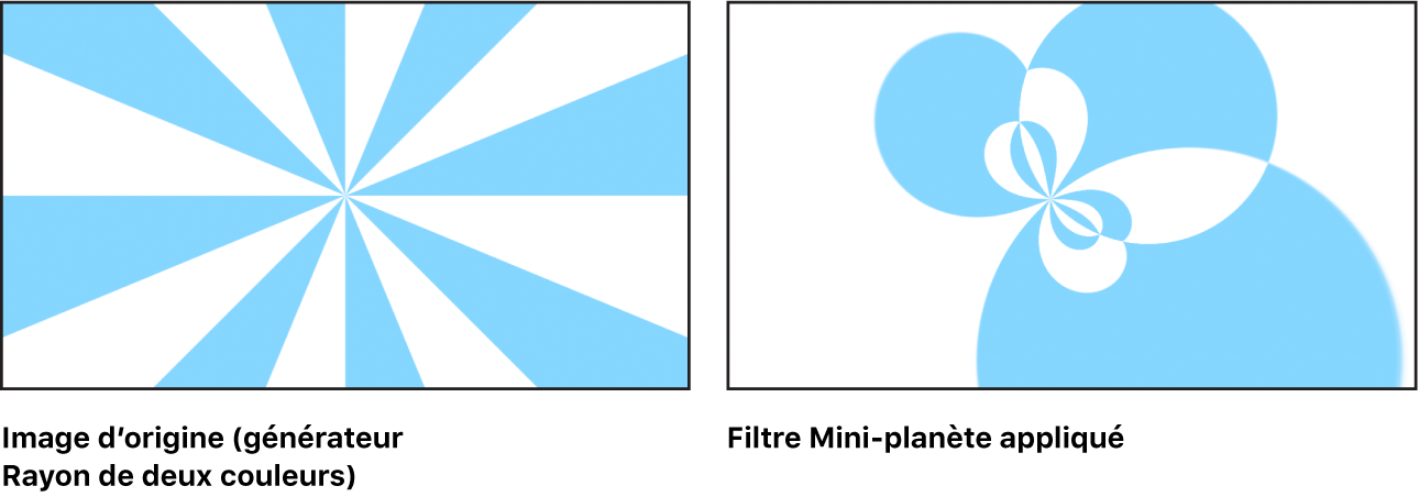 Canevas affichant l'effet du filtre Mini-planète sur un générateur Rayon de deux couleurs