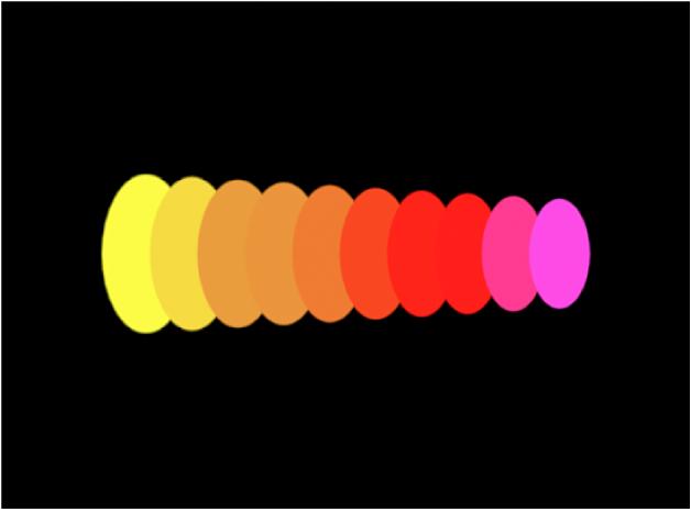 Fenêtre du canevas reprenant un exemple de Mode de couleur défini sur Sur motif