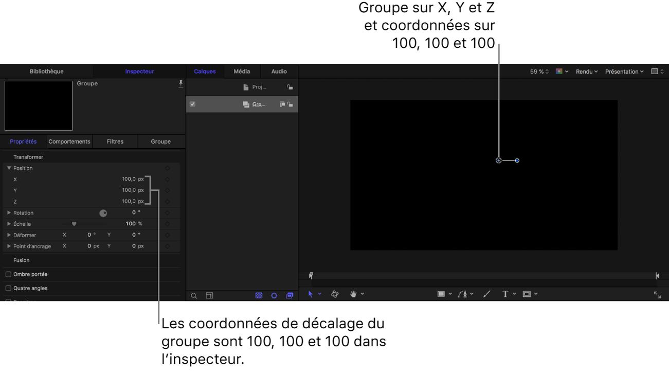 Canevas et inspecteur affichant un groupe placé aux coordonnées: X=100, Y=100, Z=100