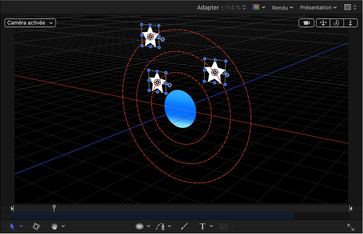 Canevas affichant le comportement En orbite avec les axesX etY activés