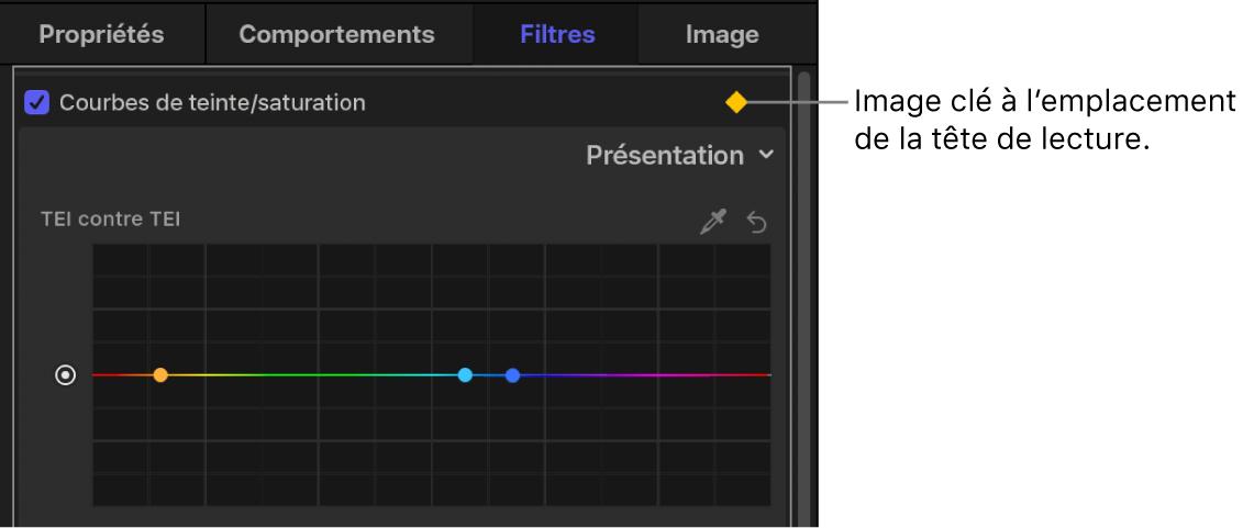 Inspecteur de filtres affichant une image clé dans le filtre Courbes de teinte/saturation