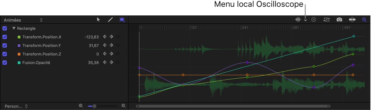 Menu local Forme d'onde audio dans l'éditeur d'images clés