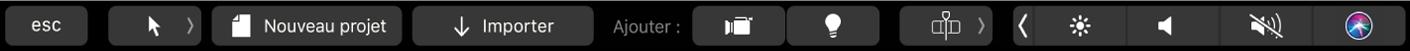 Options de la Touch Bar pour un projet Motion (sans sélection établie)