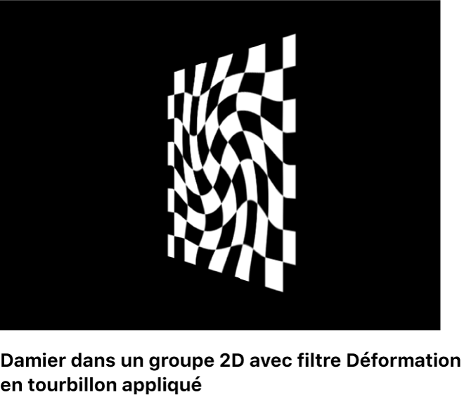 Canevas affichant un damier dans un groupe2D auquel un filtre Déformation en tourbillon est appliqué