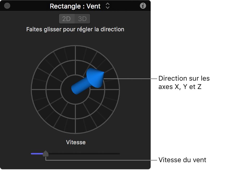 Palette avec commandes spéciales pour le comportement Vent en mode3D
