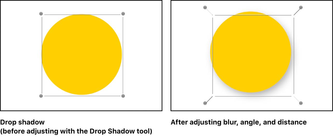 显示调整投影前的对象和投影正被操纵的对象的画布