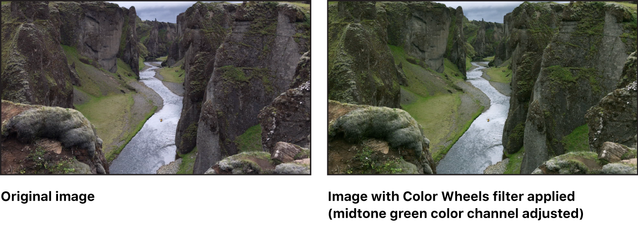 """显示""""颜色曲线""""滤镜效果的画布(其中中调绿色通道已调整)"""