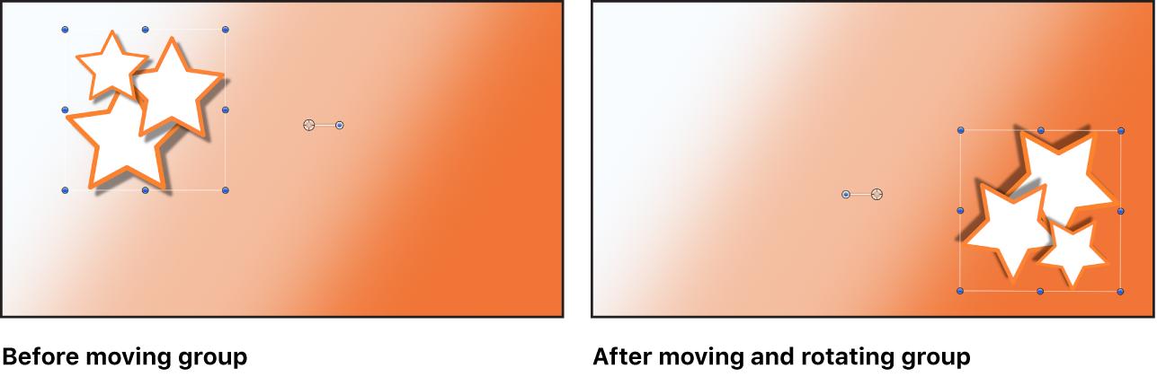 显示作为单个对象移动的群组的画布