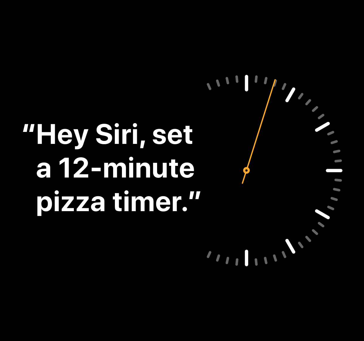 """An illustration of the words """"Hey Siri, set a 12-minute pizza timer"""""""