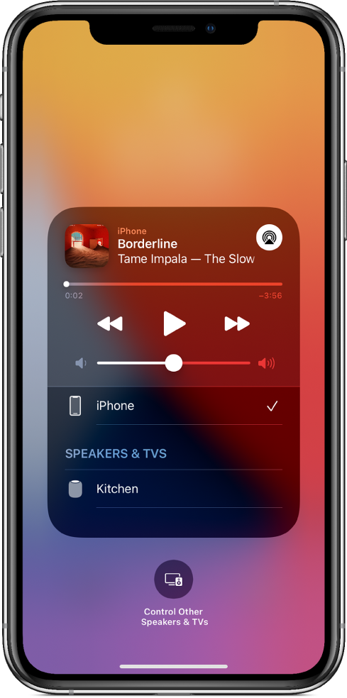 On an iPhone's screen, a song is playing and a list of devices and speakers is showing. iPhone is selected, and HomePod is an option below.