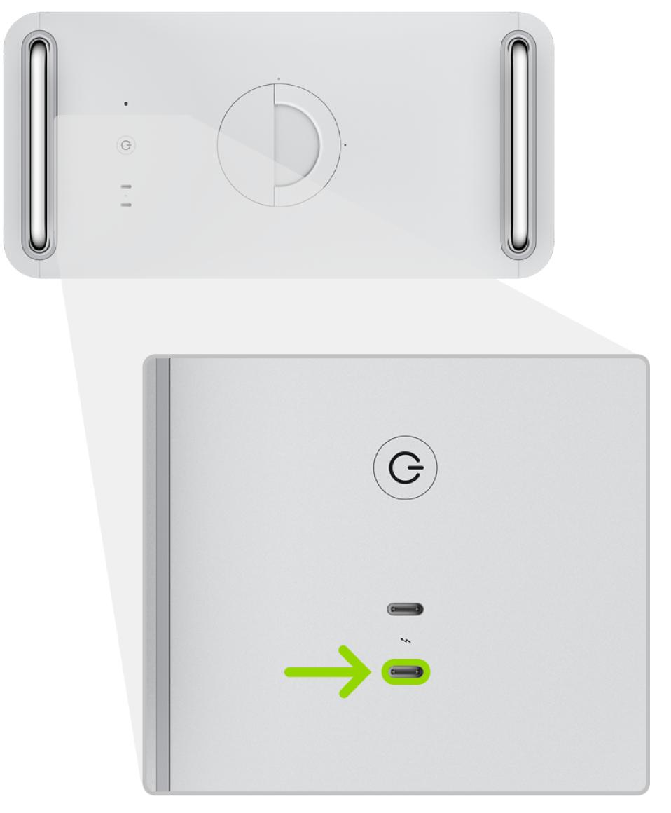 Die Rückseite eines MacPro (2019) mit zwei Thunderbolt-Anschlüssen (USB-C); der Anschluss, der am weitesten vom Ein-/Ausschalter entfernt ist, wird hervorgehoben.