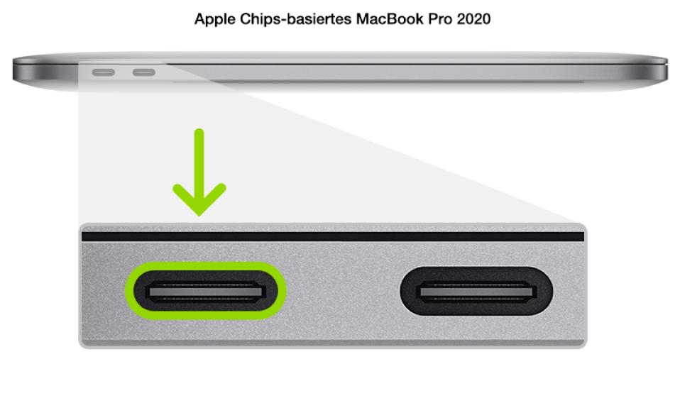 Die linke Seite eines MacBookPro mit AppleChips mit zwei Thunderbolt3-Anschlüssen (USB-C) zur Rückseite hin; der ganz links befindliche Anschluss wird hervorgehoben.