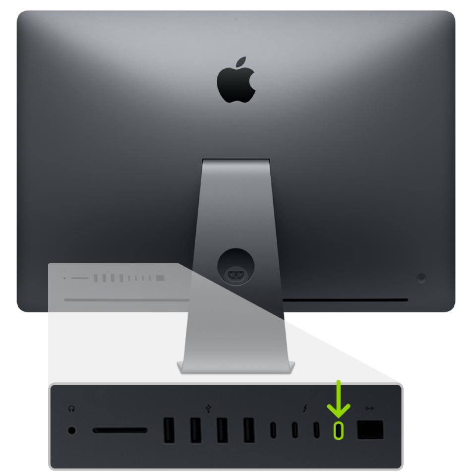 Die Rückseite eines iMac Pro mit vier Thunderbolt3-Anschlüssen (USB-C); der ganz rechts befindliche Anschluss wird hervorgehoben.