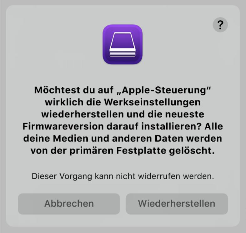 Der Hinweis, der Benutzern angezeigt wird, wenn ein Apple-Computer in Kürze mit AppleConfigurator2 wiederhergestellt wird.