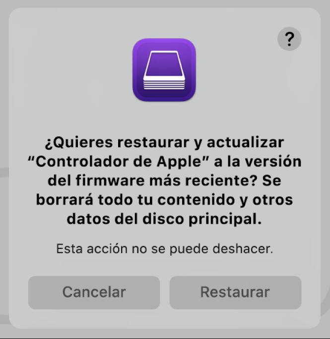 El mensaje de alerta que se muestra a los usuarios cuando un ordenador de Apple está a punto de ser restaurado en AppleConfigurator2.