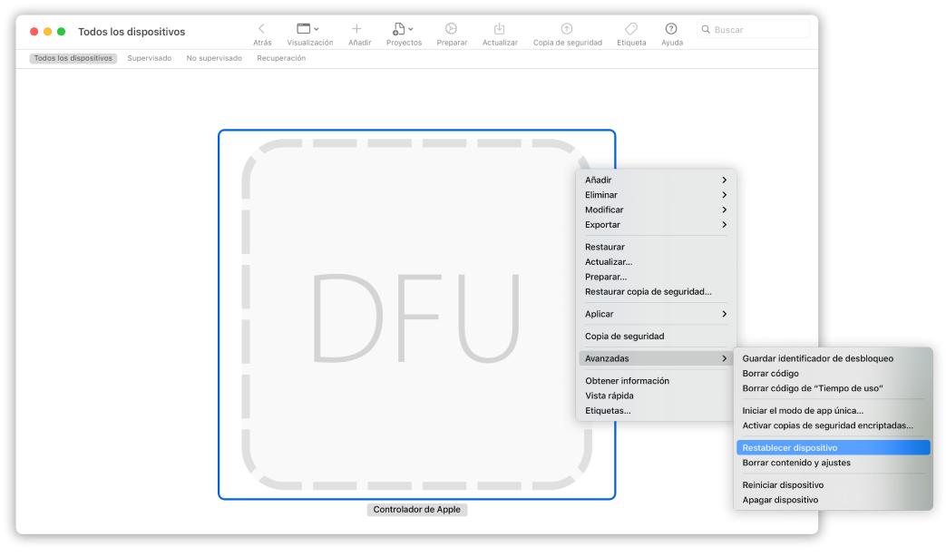 """AppleConfigurator2 que muestra un Mac con la opción """"Restablecer dispositivo"""" seleccionada en el menú desplegable."""