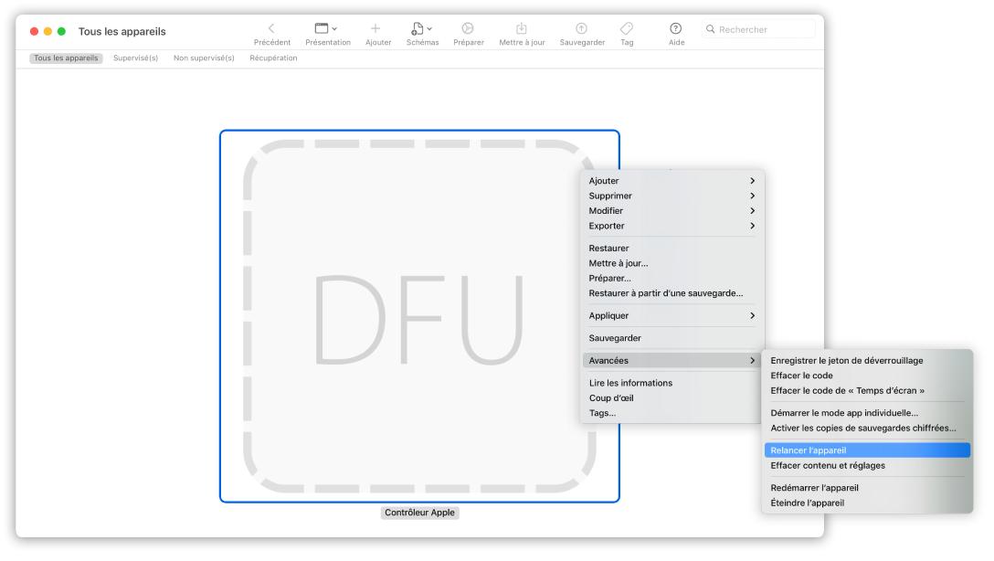 AppleConfigurator2 montrant un Mac avec l'option «Relancer l'appareil» sélectionnée dans le menu local.