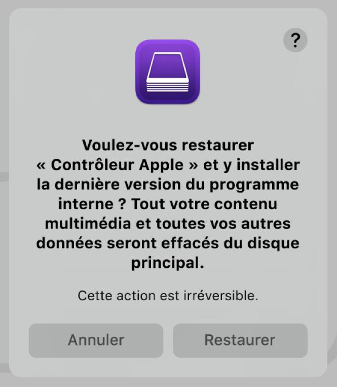 L'alerte qui apparaît aux utilisateurs lorsqu'un ordinateur Apple est sur le point d'être restauré dans AppleConfigurator2.