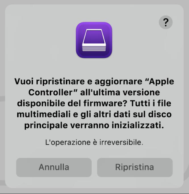 L'avviso che viene mostrato agli utenti quando un computer Apple sta per essere ripristinato in Apple Configurator 2.
