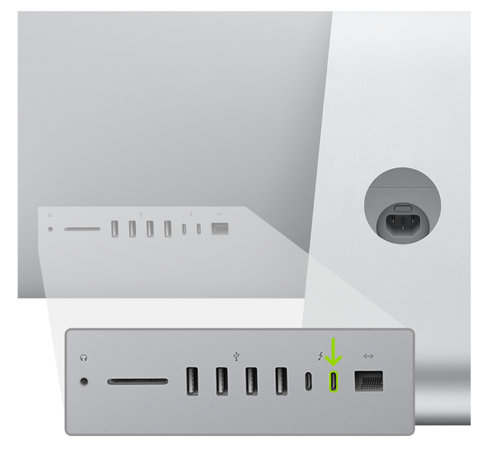 iMac(2020)の背面。2つのThunderbolt 3(USB-C)ポートが示されており、一番右のポートがハイライトされています。