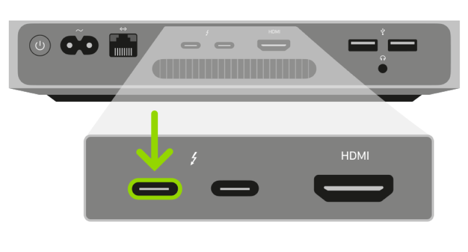 De achterkant van een Macmini met AppleSilicon. In een vergrote weergave van de twee Thunderbolt3-poorten (USB-C) is de linkerpoort gemarkeerd.
