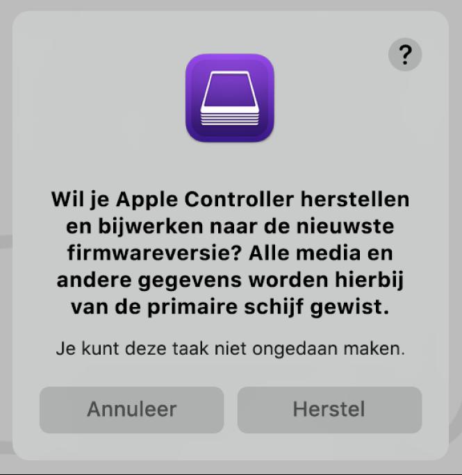 De waarschuwing die gebruikers zien wanneer een Applecomputer op het punt staat om te worden hersteld in Apple Configurator2.