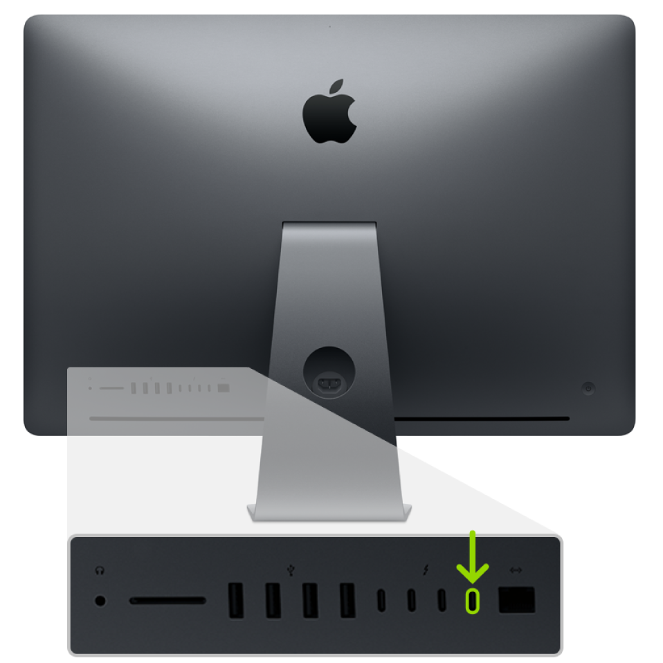 De achterkant van een iMacPro. Van de vier Thunderbolt3-poorten (USB-C) is de poort uiterst rechts gemarkeerd.